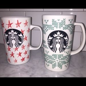 Starbucks Coffee Mugs Cups 16 oz Red Stars & Green